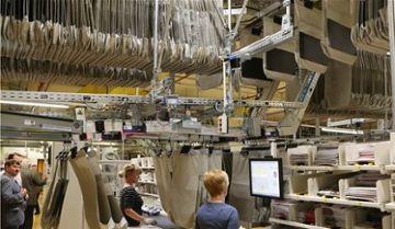 Hängetaschen bei Kommissionierung im Versandhandel, HEBER Fördertechnik